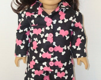 """18"""" doll clothes/Pink Hearts/Flannel pajamas and slippers/READY TO SHIP/4piece set made to fit 18"""" dolls like American girl"""