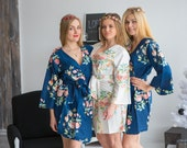 Premium Navy Blue Bridesmaids Robes - Dreamy Angel Song Pattern - Soft Rayon Fabric - Better Design - Perfect as getting ready robes