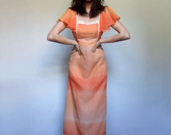 70s Boho Dress Boho Maxi Vintage Long Dress 70s Summer Dress Orange Maxi Hippie Dress - Extra Small to Small XS S