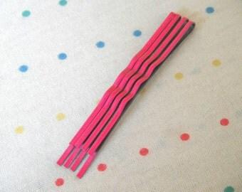 """Neon Hot Pink Hair Pins, Metal Hair Clips, Bobby Pins, Medium Sized, 2 1/2"""" Long (12)"""