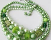 Mid Century Triple Strand Necklace, Green Beaded Choker
