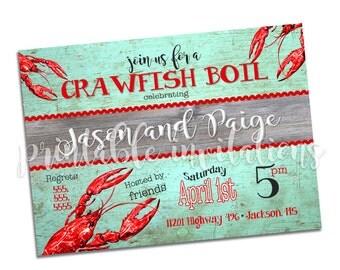 Crawfish Boil, Crawfish Party Invitation, Printable Invitation
