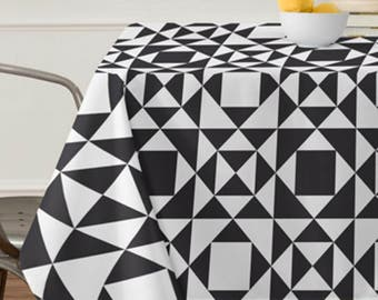 Black Geometric Tablecloth // Table Linens // Dining Room // Rhythm Design // Black & White // Table Decoration // Aztec Print // Home Decor