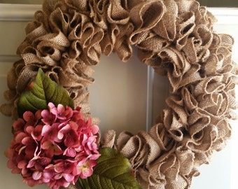 Natural Burlap Ruffle Wreath with Rose Pink Hydrangea, Burlap Wreath, Ruffle Wreath, Hydrangea Wreath, Everday Wreath