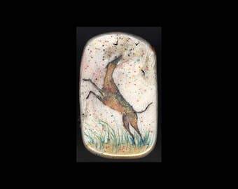 Greyhound Jewelry: Dancing with the Birds Pin or Pendant. Light Gold, Teal, Pink, Silver Grey and White 4300