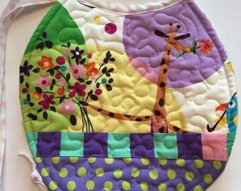 Baby bib, bibs, bib, quilted bib, giraffe bib, floral bib, baby boy bib, baby girl bib, quilted bib, patchwork bib, tie bib, wildflowers