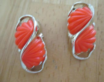 Vintage costume jewelry orange thermoset clip on earrings