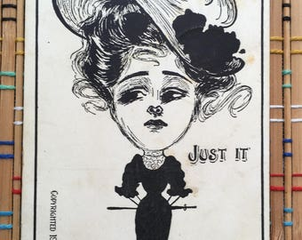 Vintage illustrated Postcard:  Gibson Girl--Oversized Head, Swooping Hat!
