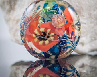 Art lampwork glass focal lentil bead-Alice in Wonderland series- Poppy