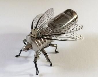 Steampunk brooch - Insect Vacuum Tube Brooch - OOAK Unique Steampunk Steam Punk Clockwork Jewelry
