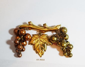 FREE Ship Copper and Gold Tone Grapes With Leaf on Branch Brooch (5-5018)