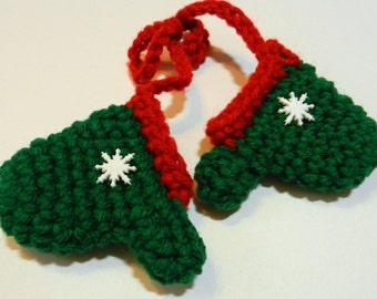 Snowflake Green Mittens Ornament