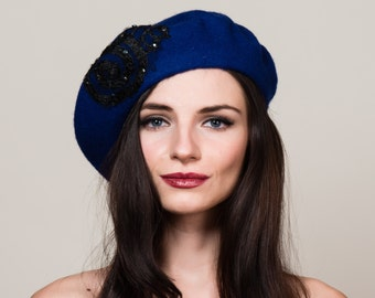Royal Blue Beret in 100% Wool with Hand Beadwork and Lace Embellishment. French Style. Winter Hat.
