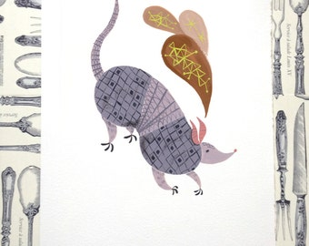 Armadillo Illustration Print
