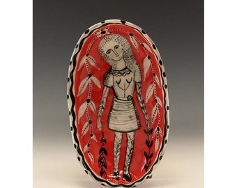 Holiday Sale Girl In The Vines Painting by Jenny Mendes in an Oval Ceramic Red Pinch Bowl