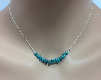 Turquoise Gemstone Bar Necklace in Sterling Silver