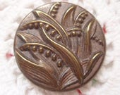 Antique Metal Lily of the Valley Button Pictorial of Flowers  Floral Late Victorian Turn of the Century Vintage Clothing