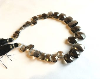 Smoky Quartz faceted cushion briolette, top drilled rectangle beads, 8 inches, 8-14mm (w196)