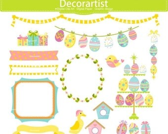 ON SALE Easter Clipart _ Easter eggs clipart. Easter frame, banner, Easter bunting clipart, digital clipart, printable, instant download