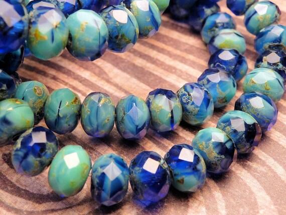 Blueberry Swirl Glass Beads 5x7mm - 10pc