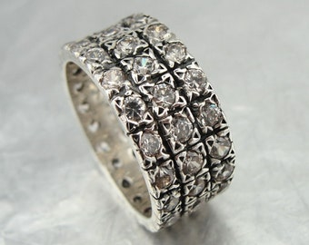 Wedding band, 925 sterling Silver band, glittery CZ ring,  cz silver band, size 8, birthday gift, wedding gift, promise ring, diamond ring