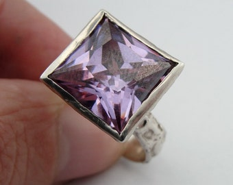 Amethyst silver ring, Square silver ring, 925 Sterling Silver Amethyst CZ Ring, ring size 7. Birthday Gift, free shipping, everyday,