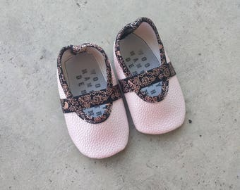 Baby Girl's Vegan Mary Jane shoes in 'Pink Champagne'