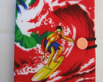 E-reader cover,Kindle, Nook Glowlight Plus, Hawaiian surfer, repurposed fabric, red