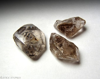 3 Himalayan Smokey Quartz 'Diamond' Crystals w/ Carbon Inclusions // Root & Third Eye Chakra // Crystal Healing // Mineral Specimens
