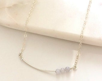 Silver Curved Bar necklace with blue agate beads - fine silver chain layering necklace - sterling silver
