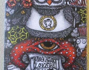 Hidden History Pen & Ink Print Esoteric Owl Mushroom Conspiracy Art Pointillism by Kelly Green
