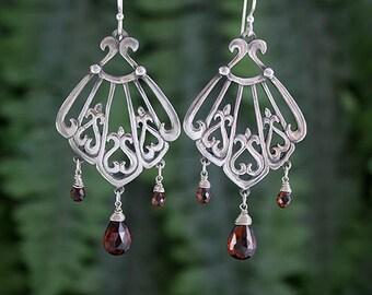 Garnet Sterling Silver Chandelier Earrings, Handmade, Statement Earrings, Drop and Dangle, Art Nouveau Style, Ocean Inspired