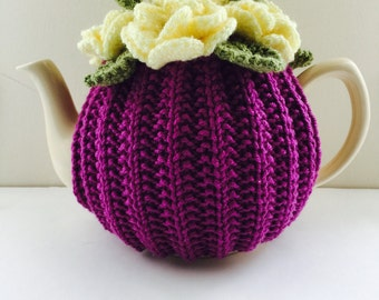 Hand knit Floral Tea Cosy - in Pure Merino Wool - Size Small - fits 1-2 cup teapots