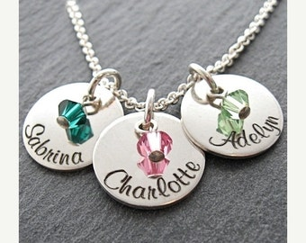 """14% off Valentines Sale- Personalized three 9/16"""" charms with crystals mother necklace - Name necklace - Engraved necklace - Custom Jewelry"""