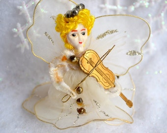 Vintage Christmas Angel Violin Ornament - Tulle Chenille Tie On Pick