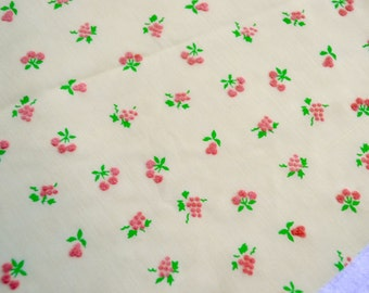 Vintage Fabric - Semi Sheer Yellow Curtain Fabric Flocked With Pink Cherries and Fruit - 43 x 45