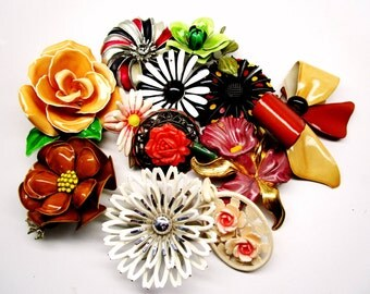 Vintage Enamel FLOWER BROOCHES Lot of 12 Some Signed Carved Celluloid Rare Estate LOT Stunning Bridal Bouquet Art Nouveau Runway Statement