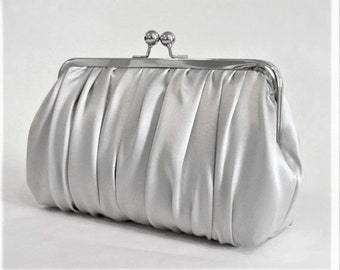Ruched Grey Mist Charmeuse Clutch,Bridal Accessories, Bridal Clutch, Bridesmaid Clutch, Bridesmaid gift, Formal
