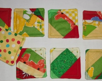 COASTERS Set of 8, Abstract Multicolored, Bright Scrappy Colors, Fabric, Appalachian Made, Gift, Protective