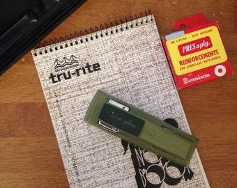 Olive green mid century swingline stapler home office vintage