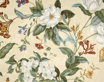 "Waverly garden images, parchment, Two 50"" wide designer curtain panels, drapes, rod pocket flat panels"
