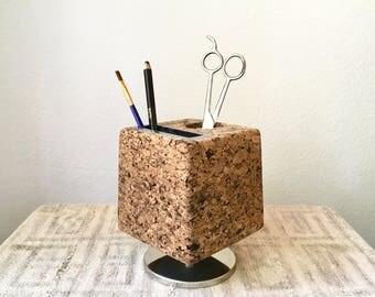 Vintage Mid Century Cork Cube Pencil Holder