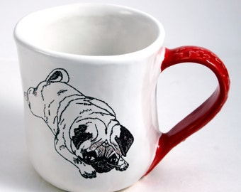 Large Pouty Pug Mug in White and Red