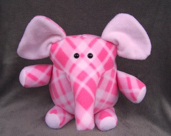 Pink and White Plaid Elephant Handmade Toy Plushie
