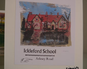 Hitchin Prints Card: Ickleford School