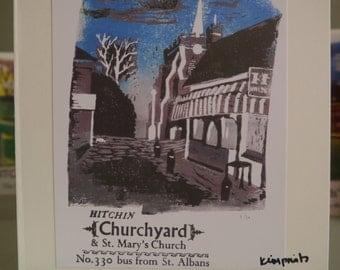 Hitchin Prints Card: Churchyard
