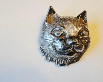 Sterling Silver Cat Vintage Kitty Brooch