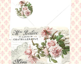 Note Cards, French Style, Merci, Thank you Cards, Roses, Blank
