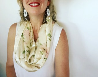 Womens Summer Stylish Floral Silky Infinity Scarf w flower motif Casual Scarf Womens Accessories, Cream Ivory Pink Green Gift for her