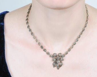 Art Deco Antique Marcasite Necklace | 1920s Necklace | Sterling Silver and Marcasite Festoon Necklace